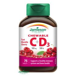 JAMIESON VITAMÍN C+D3 čerešňa 500 mg/ 500 IU tablety na cmúľanie 75 ks