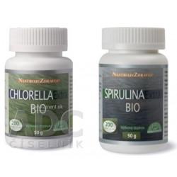 Nástroje Zdravia CHLORELLA Extra BIO + SPIRULINA  Extra BIO tbl 2x200 ks, 1x1 set