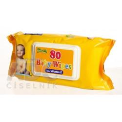 HYGIENICKÉ UTIERKY BABY WIPES S VITAMÍNOM E vlhčené obrúsky 1x80 ks