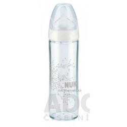 NUK FC+ FĽAŠA SKLO LOVE dojčenská 240 ml, cumlík silikón, otvor na mlieko M 1 ks