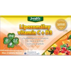 JutaVit Lipozomálny vitamín C + D3 s bioflavonoidmi a extraktmi zo šípok a aceroly tbl 1x6